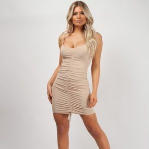 Ava Slinky Ruched Cami Dress in Stone Color